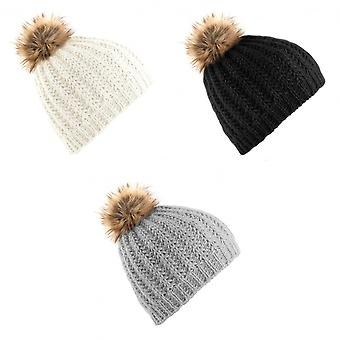 Beechfield Ladies/Womens Faux Fur Pom Pom Winter Beanie