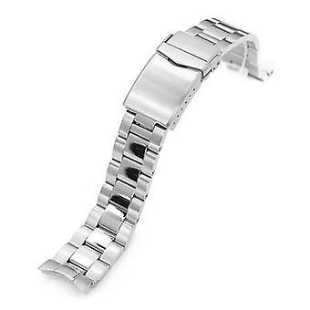Pulseira de relógio strapcode 20mm super 3d ostra 316l pulseira de relógio de aço inoxidável para seiko sarb033, escovado e polido v-clasp