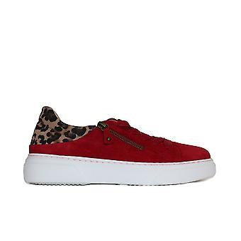 Gabor 312-10 rot/Leopard Print Wildleder Leder Womens Lace/Zip Up Casual Trainer