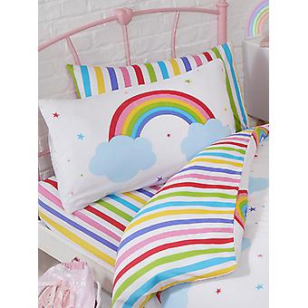 Rainbow Sky Striped Junior Toddler Bed Fitted Sheet and Pillowcase Set