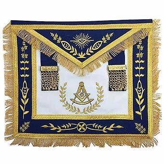 Pavillon bleu maçonnique passé maître tablier de francs-maçons de broderie de machine d'or