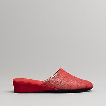Chaleur Devon Ladies Slip On Leather Slippers Red