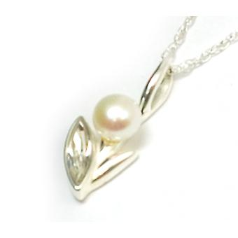 The Olivia Collection Sterling Silver Pearl And Cz Flower Pendant