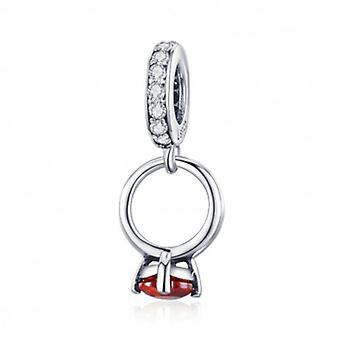 Sterling Silver Pendant Charm Wedding Ring - 5825