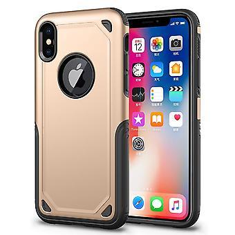Für iPhone XS Max Abdeckung, Stoßfeste robuste Rüstung Schild Fall, Gold