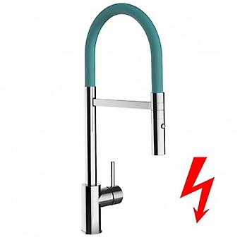 Niederdruck Kitchen Mono-levier Sink Mixer Avec Turquoise Tiffany High Swivel Spout And 2 Jets Spray Shower - 239