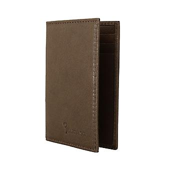 Brown leather bifold wallet a15