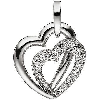 السيدات قلادة قلوب القلب 925 الفضة الاسترليني مع Zirconia سيلفر قلادة القلب الفضي