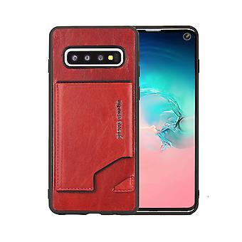 Pierre Cardin Cuir Backcover Case Avec le titulaire de carte Samsung Galaxy S10 Plus - Rouge