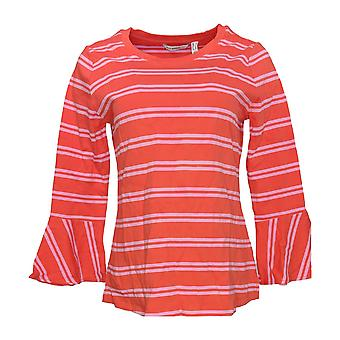 Isaac Mizrahi Live! Women's Top Scoop Neck w/ Bell Sleeves Red A301942