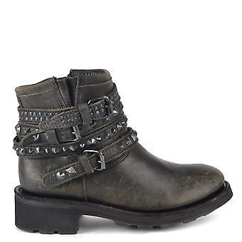 Ash Footwear Tatum Stone Wash Leather Studded Boots