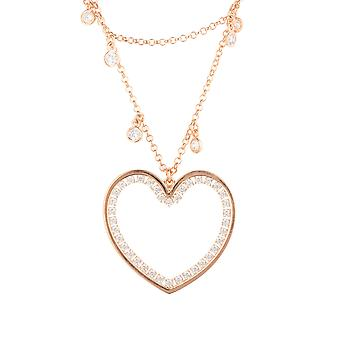 Large Pink Love Heart Bridal Jewellery Rose Gold Double Strand Choker Necklace