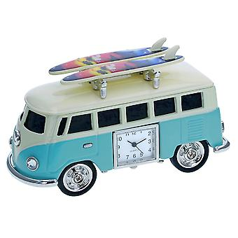 VW Surf Camper Van Miniature Novelty Clock In Light Blue And Cream - A Fantastic Gift For Any Occasion(0602)
