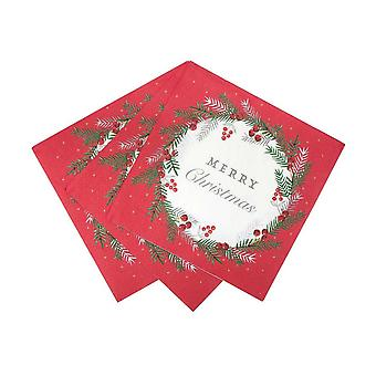 Botanical Berry Red and White Napkin X 20 - Partyware