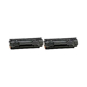 החלפת 2x ביחידת טונר של HP 35A שחור תואם ל-Laserjet P1005, P1006, P1007, P1008, P1009