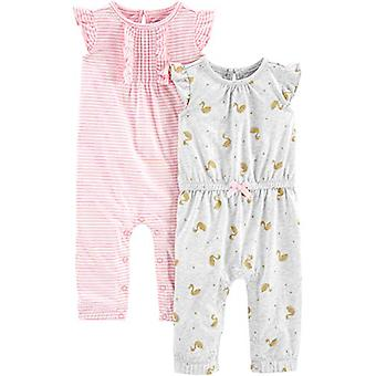 Simple Joys by Carter's Girls' 2-Pack Fashion Jumpsuits, Pink Stripe/Gold swa...