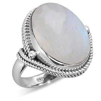 ADEN 925 Sterling Silver Moon oval form ring (id 4274)