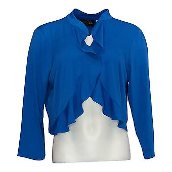 Bob Mackie Women's Top 3/4 Sleeve Open Front Blue A290579