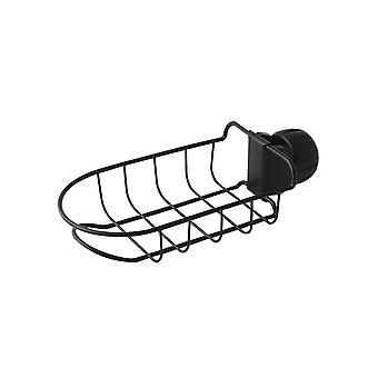 ABS and PP Iron Faucet Storage Rack Black 23.6x10.9x6.1cm