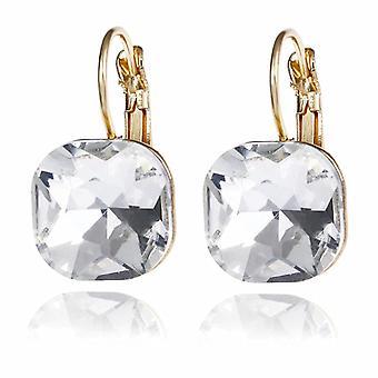 Square Gold Diamond Cut Crystal Drop Earrings