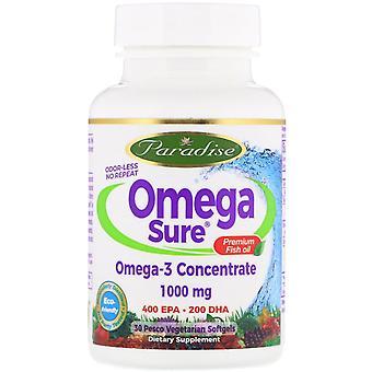 Paradise Herbs, Omega Sure, Omega-3 Premium Fish Oil, 1,000 mg, 30 Pesco Vegetar