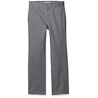 Essentials Boys' Straight Leg Flat Front Uniform Chino Pant, Grey, 8(H)
