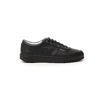 Salvatore Ferragamo 02c093734285 Heren's Black Leather Sneakers