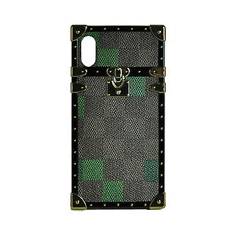 Phone Case Eye-Trunk Checkered Square For iPhone X (Green)