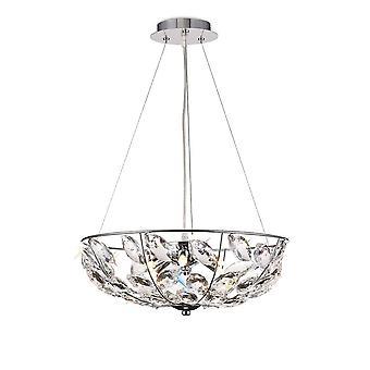 Plafondhanger 6 Licht G9 Gepolijst chroom, kristal