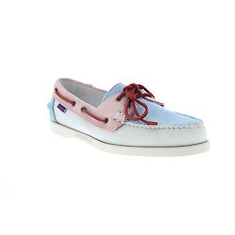 Sebago Portland Pastel Hombres Azul Suede Encaje Zapatos De Barco Loafers