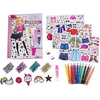 Hot Focus Fashion Stylist Kit - Fashion Design Sketchbook with 12 Erasable Colored Pencils, 4 Bags of Sequins, Stickers, Glue and 2 Bonus Adjustable Heart Jewel Rings