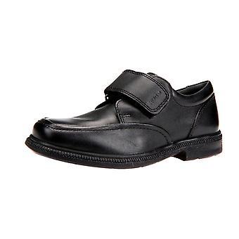Geox J Federico Pojat nahka koulun kengät / koukku ja loop - musta