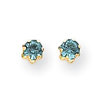 14k Yellow Gold Polished Simulated Screw back Post Earrings 4mm Synthetic Blue Topaz (Dec) Screw back Earrings Measures