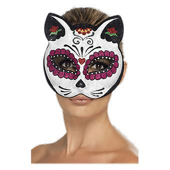 Smiffys Sugar Skull Cat Maska oczu Dzień Dead Halloween Fancy Dress