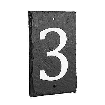 Natural Solid Slate House Numbers (0-9) Including Fixings & Caps - Number 3