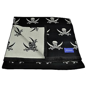 Liens Planète Lupi Romani Black & Ivory Skull & Crossed Swords Motifed Double Face Scarf