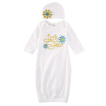Neugeborenes Baby Mädchen Sleepwear Floral Langarm Baumwolle Roben Nightie Layette