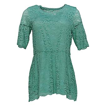 Isaac Mizrahi Live! Dames's Top Stretch Lace Peplum Knit Green A352272