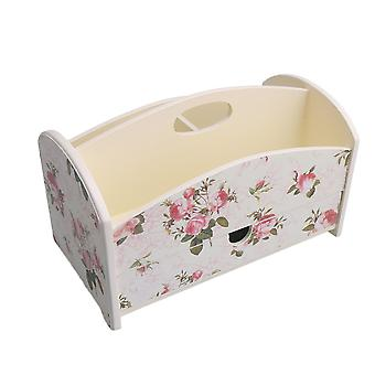 Rose Pattern Nordic Style Wooden Cosmetic Storage Cases Desk Organizer