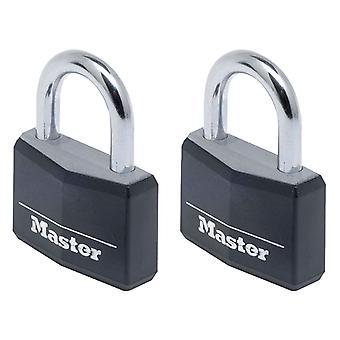 Masterlock 9140EURTBLK Aluminium Zwart 40mm Padlock Keyed Alike x 2