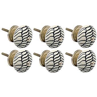 Nicola Spring Ceramic Cupboard Drawer Knobs - Floral Design - Lines - Pack of 6