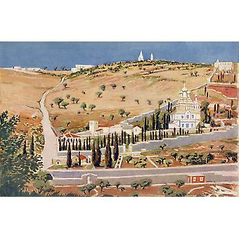 Palestinas Oljeberget Jerusalem ca 1910 från en bok av moderna Palestina av Richard Penlake publicerade C1910 PosterPrint