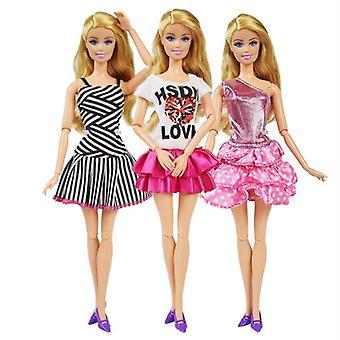 Doll oblečení šaty + 3 plastový náhrdelník + náhodné 3 páry boty pro panenku Barbie