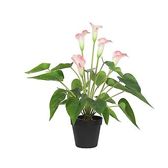 Keinotekoinen kukkiva valkoinen ja vaaleanpunainen rauha Lily Calla Lily Plant 50 cm