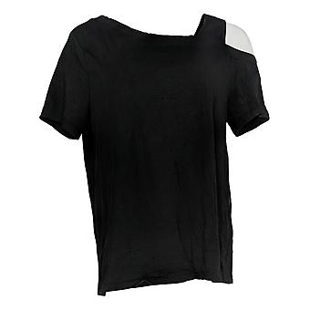 Anybody Women's Top Short Sleeve Asymmetrical Tee Black A377819