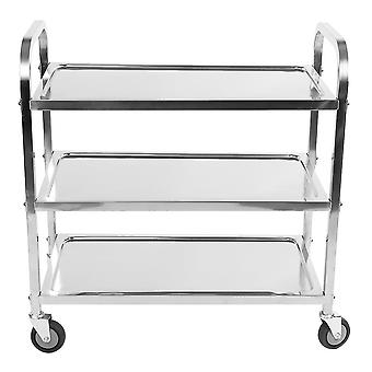3 Tier Catering Serving Trolley Cart Restaurant Stainless Steel Rolling Utility