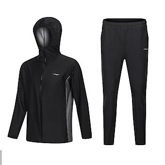 Sauna Suit Men Zipper Hoodies Gym Clothing Set For Weight Loss Running/fitness