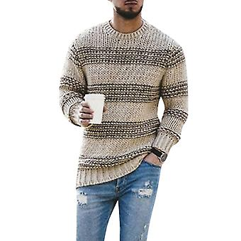 Men's Round Neck Striped Casual Long Sleeve Sweater