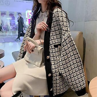 Women Oversized Knitted Cardigans Loose Plaid Jumpers Korean Long Elegant