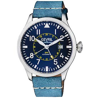Gevril Vaughn Men's Swiss Automatic Blue Dial BlueCalfskin Leather Watch